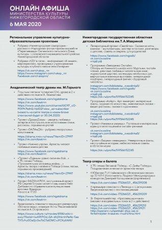 Культурную программу на 6 мая подготовили нижегородские музеи, театры и библиотеки