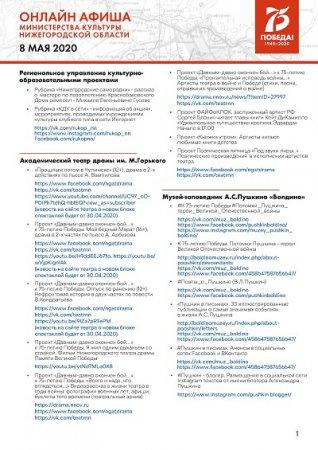 Культурную программу на 8 мая подготовили нижегородские музеи, театры и музыкальные учреждения