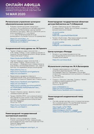 Культурную программу на 14 мая подготовили нижегородские музеи, театры и музыкальные учреждения