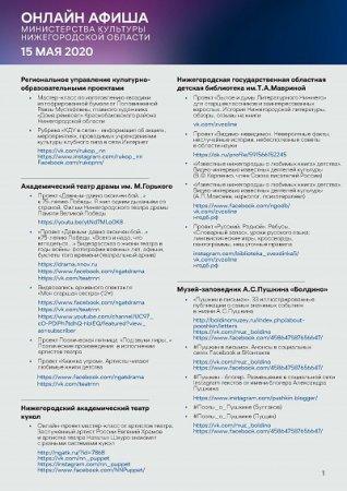 Культурную программу на 15 мая подготовили нижегородские музеи, театры и музыкальные учреждения