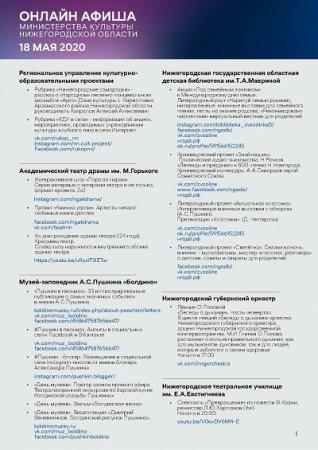 Культурную программу на 18 мая подготовили нижегородские театры,  библиотеки и музыкальные учреждения