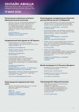 Культурную программу на 19 мая подготовили нижегородские театры и музыкальные учреждения
