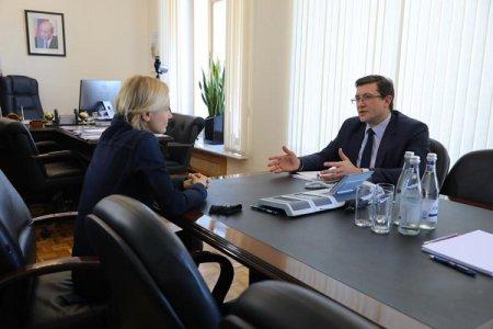 Глеб Никитин провел встречу с исполнительным директором Российского движения школьников Ириной Плещевой