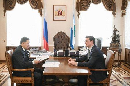Глеб Никитин и Евгений Куйвашев обсудили развитие сотрудничества Нижегородской и Свердловской областей